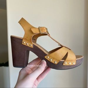 FRANCESCAS Wooden Clogs Heeled Sandals Strappy 8